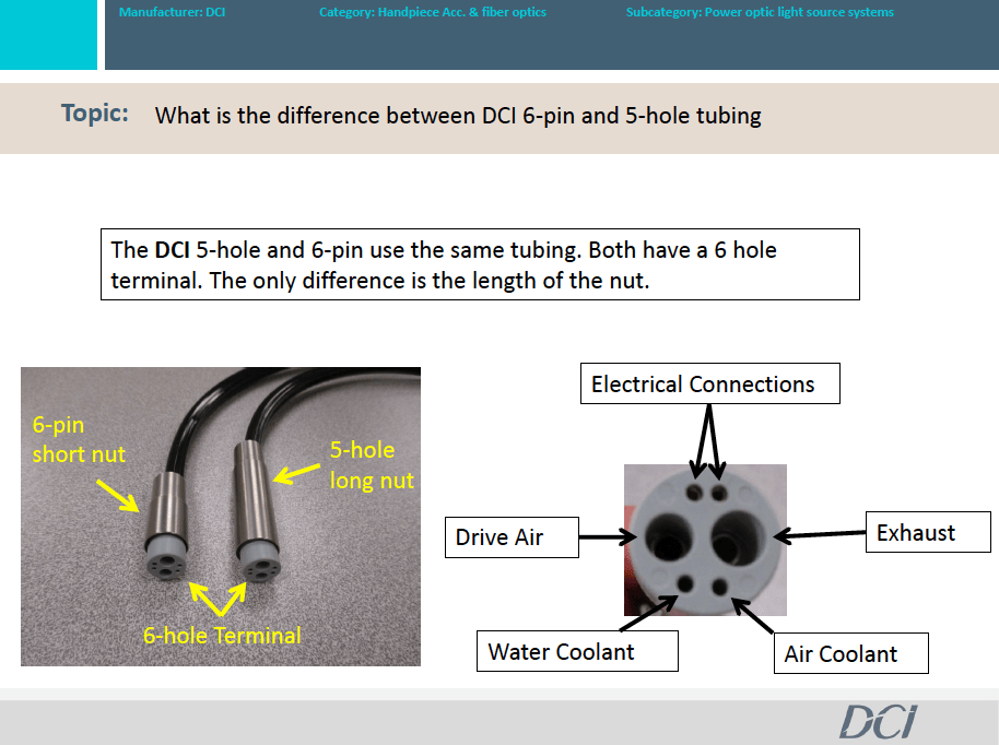 What is the difference between DCI 6-pin and 5-hole tubing?