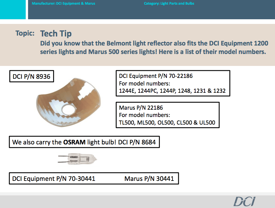 Belmont light reflector also fits DCI Equipment 1200 series lights & Marus 500 series lights