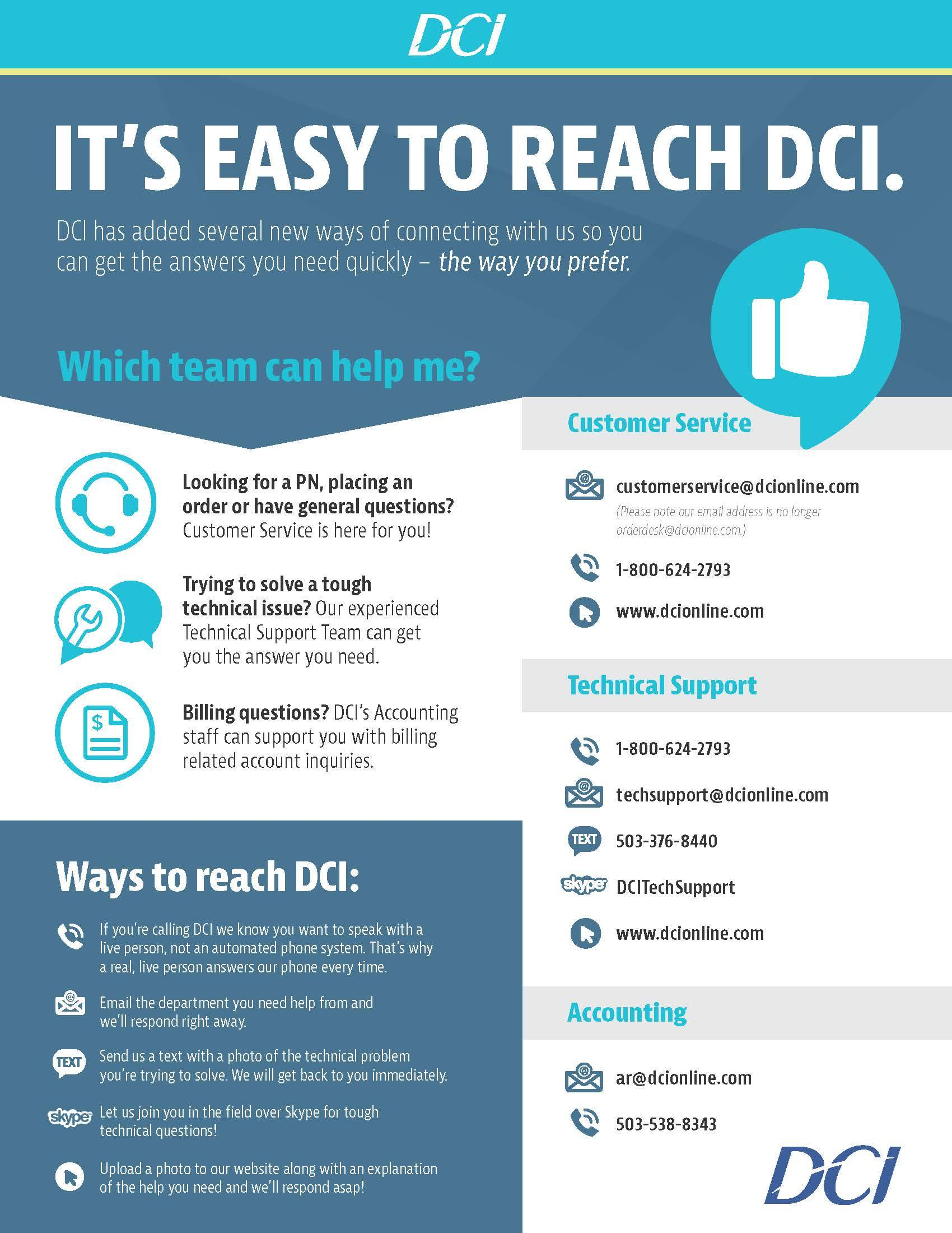DCI Now Offers Tech Support Via Text & Skype